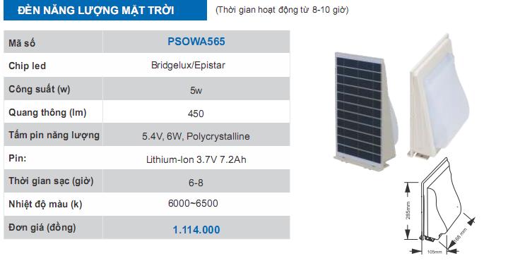 thông số kĩ thuật đèn năng lượng mặt trời PSOWA565