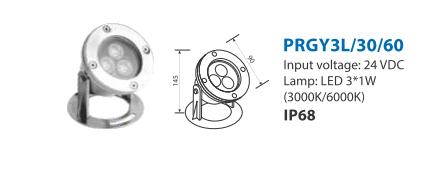 Chi tiết kỹ thuật đèn dưới nước PRGY3L